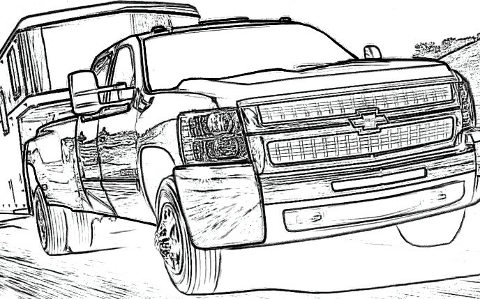 chevy silverado truck coloring for kids