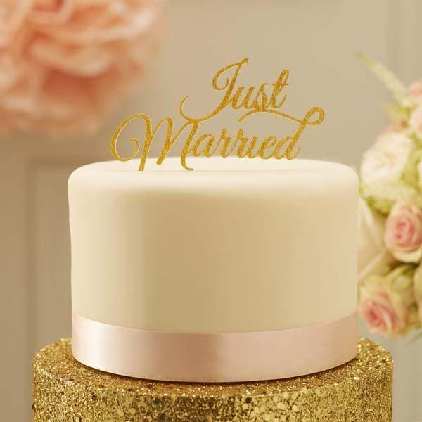Tortenaufsatz - Just Married - Gold Glitter - Cake Topper - sweetwedding - Hochzeitskarten, DIY, Hochzeitsdekoration, Einladungskarten zur Hochzeit, Gastgeschenke, Dekoration, Gästebücher, Stammbücher, Tischdekoration, Berlin