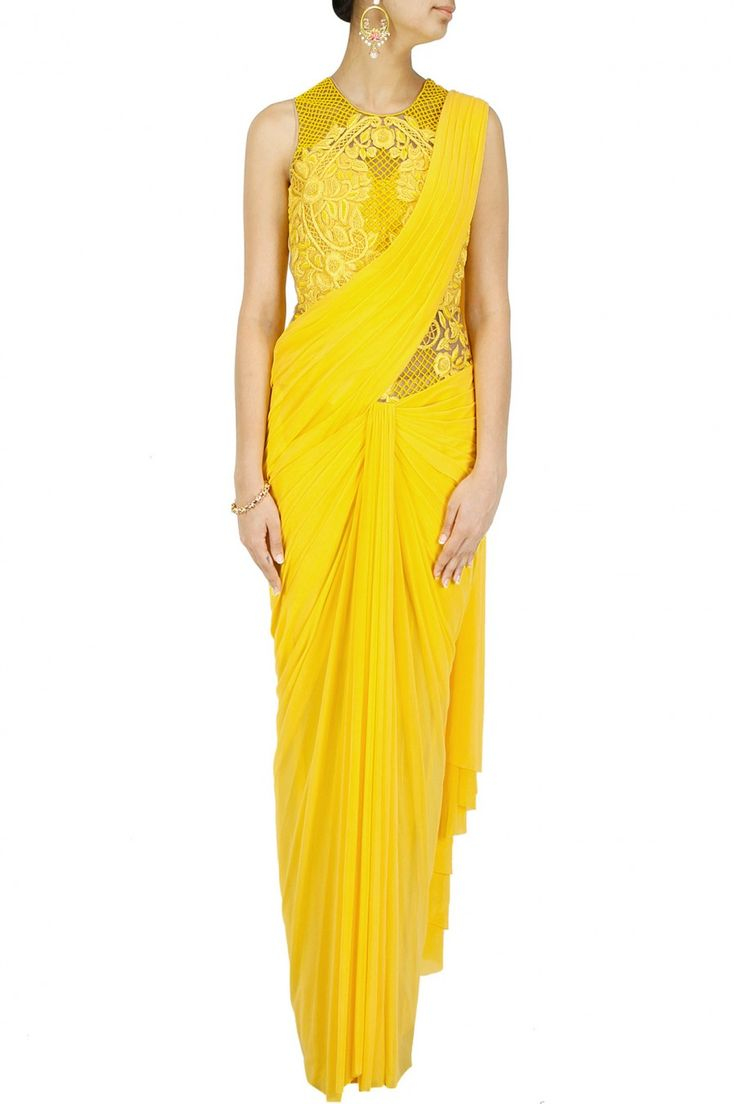 Yellow embroidered cowl drape pre stitched sari-gown BY SONAAKSHI RAAJ. Shop now at perniaspopupshop.com #perniaspopupshop #clothes #womensfashion #love #indiandesigner #sonaakshiraaj #happyshopping #sexy #chic #fabulous #PerniasPopUpShop #ethnic #fun
