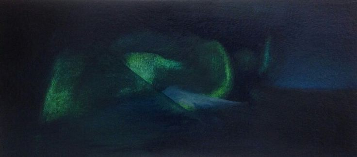 Deep green. Oil on paper. Miniature painting.