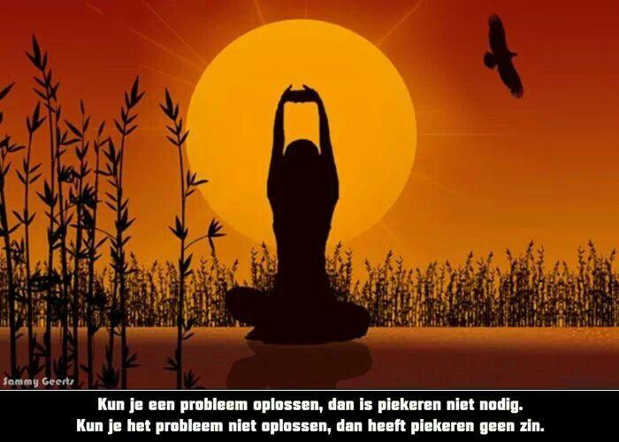 'Kun je een probleem oplossen, dan is piekeren niet nodig. Kun je het probleem niet oplossen, dan heeft piekeren geen zin.'