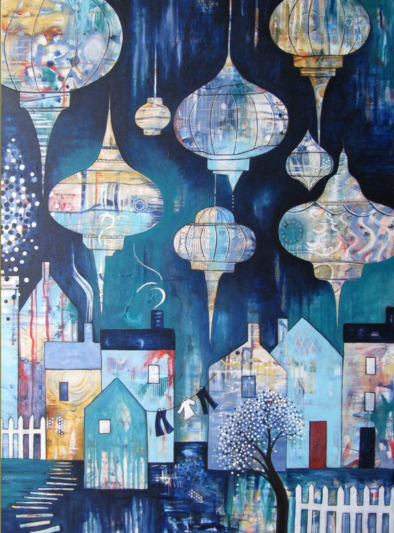 The Lights that Lead us Home is an original 30 x40 acrylic painting on raises 1 5 stretched canvas
