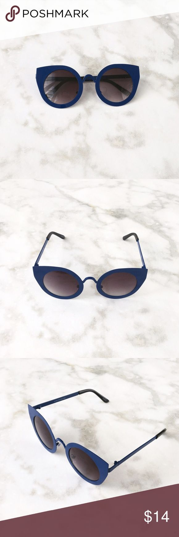 DARK BLUE CATEYE SUNGLASSES Dark blue thick frame cat eye sunglasses. Black lens. Price firm unless bundled Style Link Miami Accessories Sunglasses