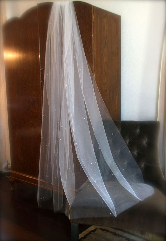 Rhinestone Chapel Veil with densely scattered by GracefullyGirly, $189.00