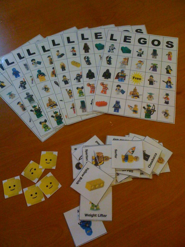 LEGO Bingo is a free download from a blogger's site (bigdandme.com).  The minifigure markers were from another blogger's free download.