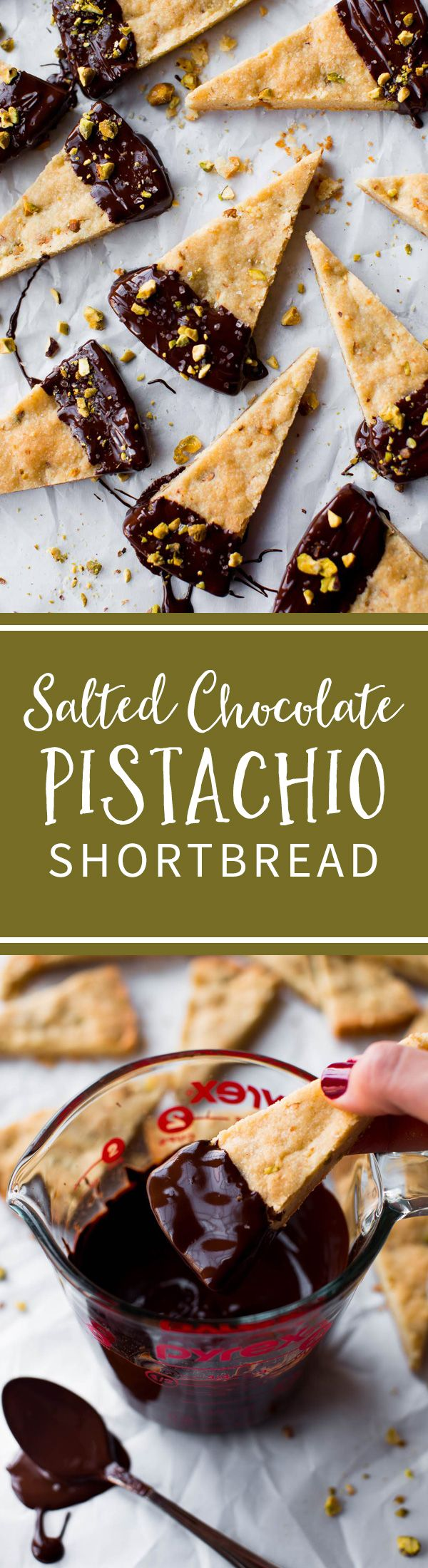With just a few ingredients, you can turn traditional shortbread into this salted chocolate pistachio shortbread! An easy one bowl dessert recipe on sallysbakingaddiction.com