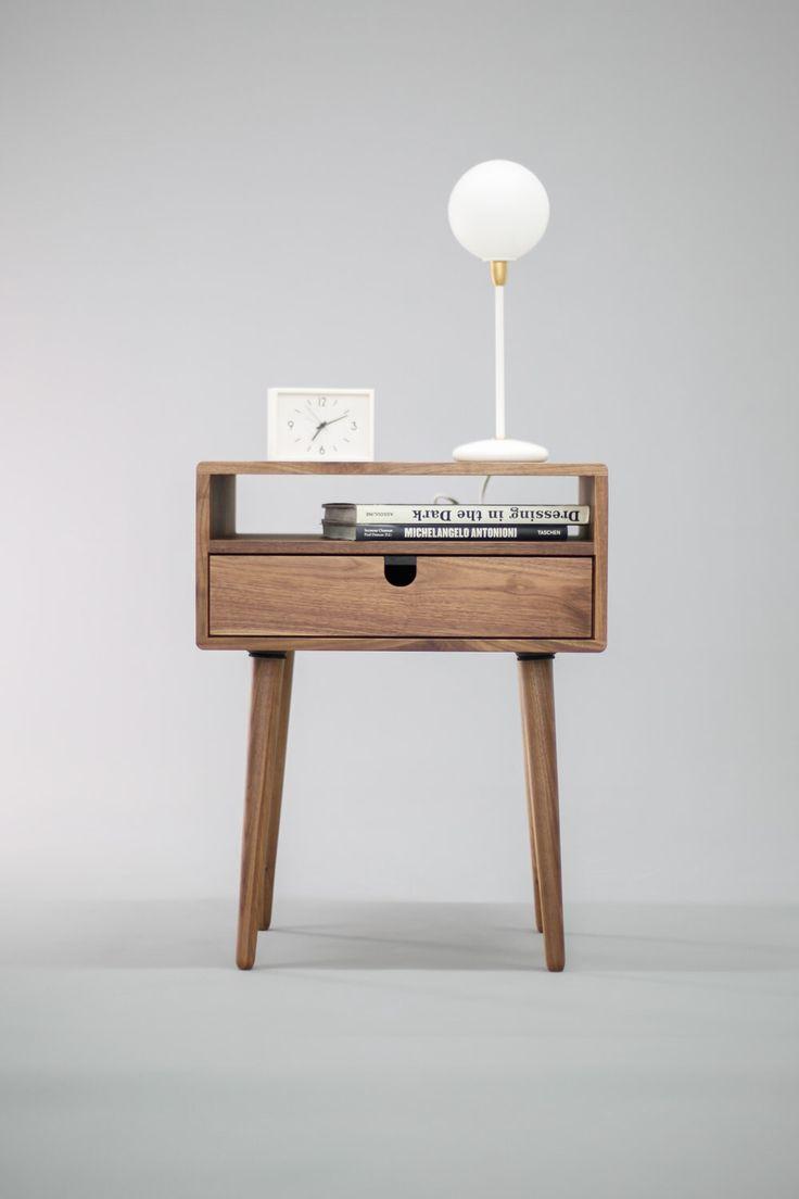 Walnut Mid-Century Scandinavian bedside Table / Nightstand in solid Walnut board , retro legs made of solid oak or walnut by Habitables on Etsy https://www.etsy.com/listing/266135193/walnut-mid-century-scandinavian-bedside