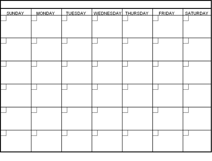 generic monthly calendar template