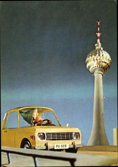 Postcard Berlin Mitte, Fernsehturm, Unser Sandmännchen, Sandmann, Wartburg PU 325 | akpool.co.uk