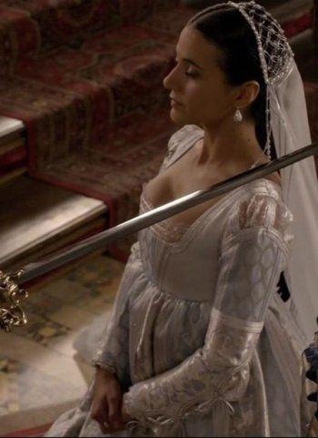Emmanuelle Chirqui as Sancia in the Borgias