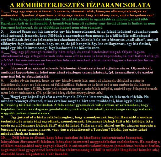 A RÉMHÍRTERJESZTÉS Tízparancsolata