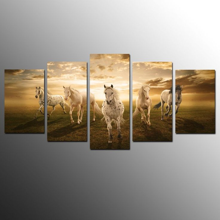 Herd of Galloping Pinto Horses - 5 pieces