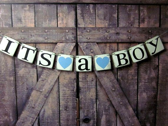 GARLAND-Baby Shower Banner-ITS a BOY Decoration-Rustic Banner-Sign-Party photo Props-heavy chip Board