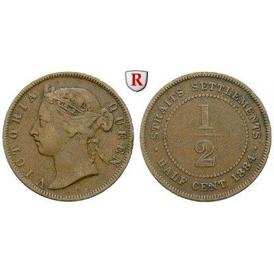 Straits Settlements, Victoria, 1/2 Cent 1884, ss: Victoria 1837-1901. Kupfer-1/2 Cent 1884. KM 8a; sehr schön, Rdf. 50,00€ #coins
