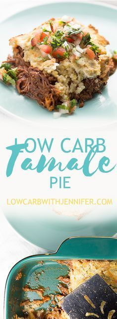 This low carb tamale pie is so full of flavor and gluten free! Saucy shredded beef, melty cheese, and a low carb crust.