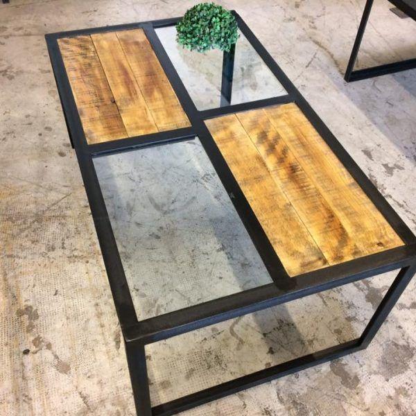 Table Basse Plateau Verre Loft Industeel En 2020 Table Basse Table Basse Bois Metal Table Basse Plateau