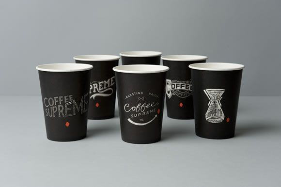 Serifs. #cups #printed: Coffee Cups Design, Hard Hats, Coff Supreme, Hardhat Design, Packaging Design, Coff Cups, Hands Drawn, Paper Cups, Black Coff