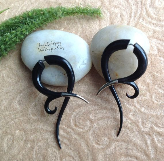 23 best Black Horn Fake Gauge Earrings images on Pinterest