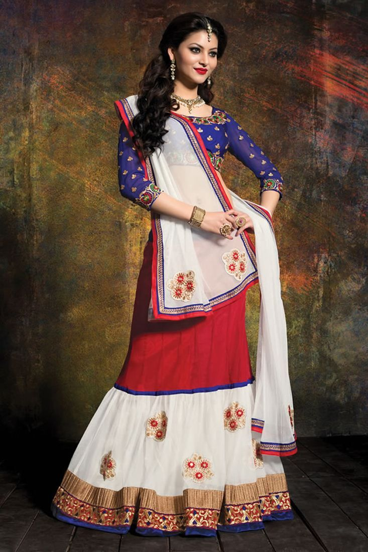 Designer Off White And Red Color Lehenga Choli - $57.07