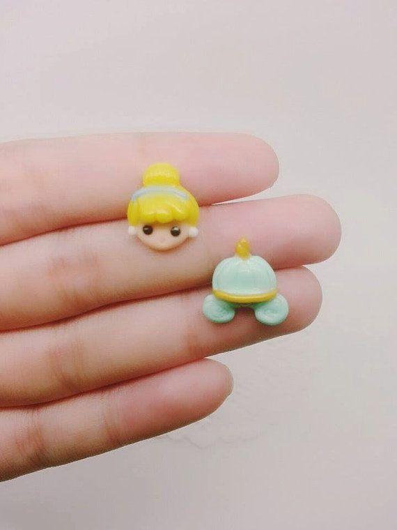 Princess Cinderella Inspired Stud Earrings - Polymer clay Charm,Disney Earrings, Stud Earrings, Polymer Clay Earrings