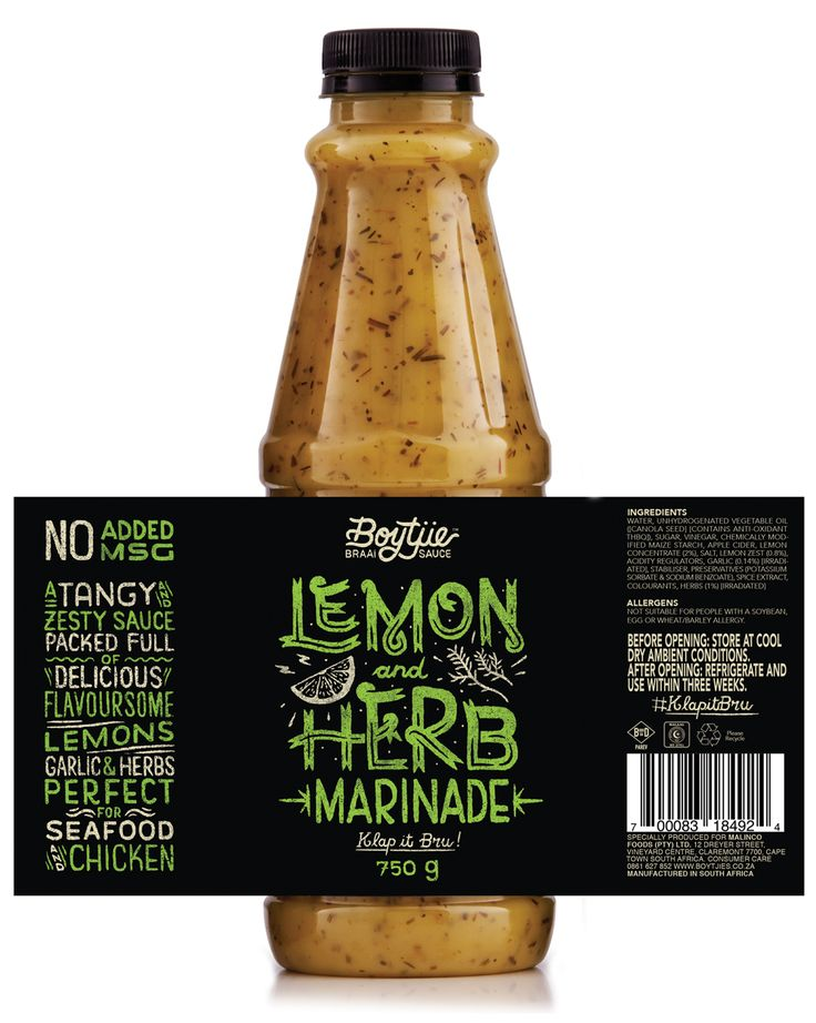 Boytjie Braai Sauce™ Lemon and Herb Marinade flavor #Bottle #Packaging