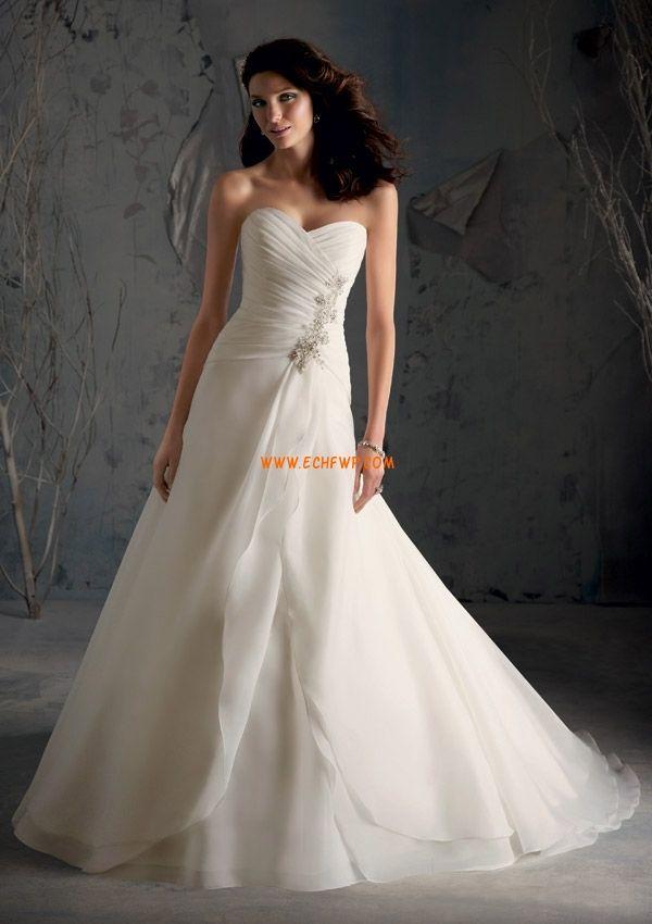 A-linje Små Hvite Kjoler Naturlig Bryllupskjoler 2013