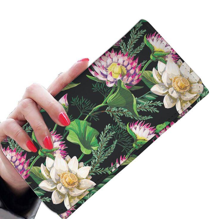 Water Lily Pattern Print Design WL010 Damen Geldbörse