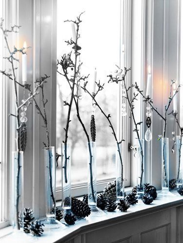 Tall branches in my vintage test tubes, hang small ornaments