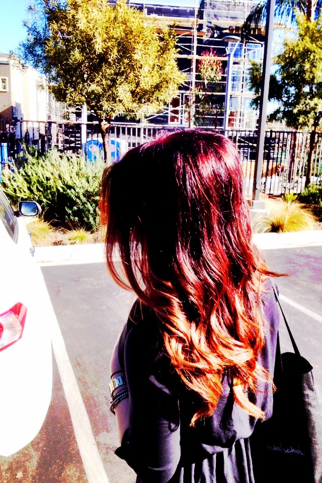 I love my red to brown to dark blonde ombré!