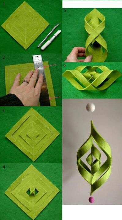 Felt ornament OR...do it with paper. Stick red and green paper together for a more interesting look :)