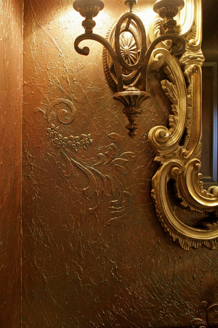 Embossed Stenciled Wall Treatment with Tissue Paper | Project by Heather McDonald Hulet with Florentine Scrolls Stencil