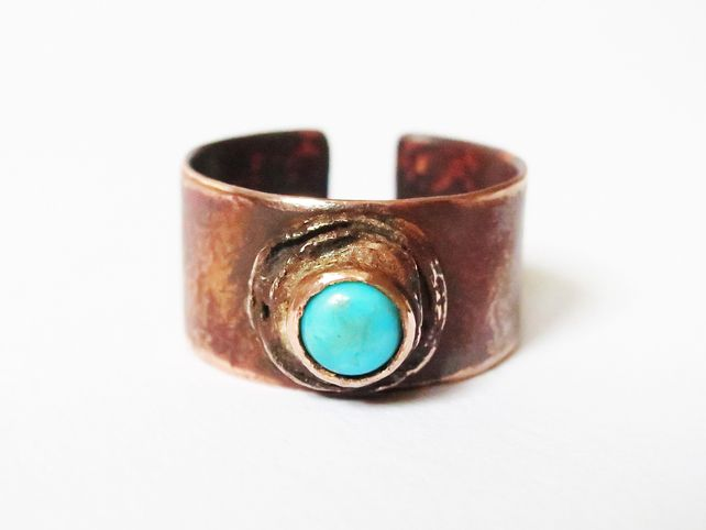 Adjustable copper and turquoise matrix ring £27.00