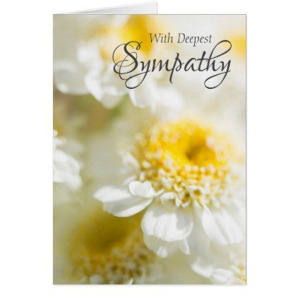 With Deepest Sympathy White Flower Photo Card - floral style flower flowers stylish diy personalize