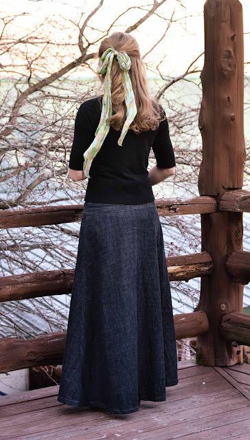 maxi denim skirt, cardigan, Fresh Modesty blog, woman with ribbon in her hair
