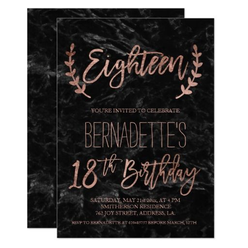 Rose gold feathers black marble 18th Birthday Card