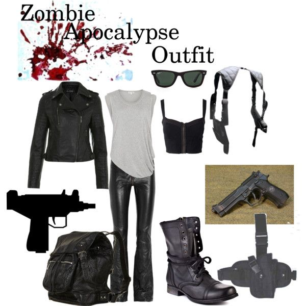 "I like a couple things. Weapons, tee, and bag.....need to change the rest...another pinner wrote- ""Zombie Apocalypse Outfit"" by mcbford on Polyvore"