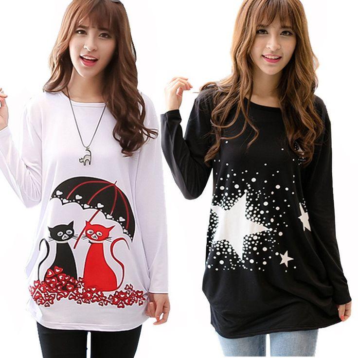 2016 fashion cartoon t shirt women long sleeve tunic tops plus size t-shirts for women winter female t-shirt camisas femininas