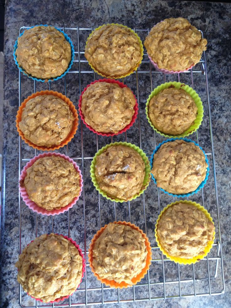 Pumpkin Oatmeal Muffins. Good recipe for babies. Used 1 T of pumpkin pie spice, no extra cinnamon.