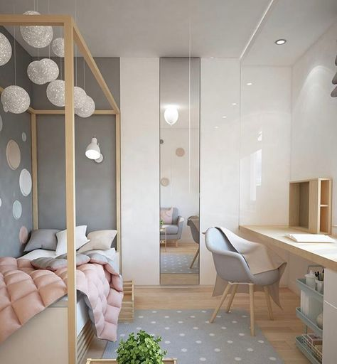 """504 Likes, 12 Comments - Growing Footprints (@growingfootprints) on Instagram: """"Balloon light...floating desk...floor to ceiling mirror...yep, we'd settle for this room. And…"""""""