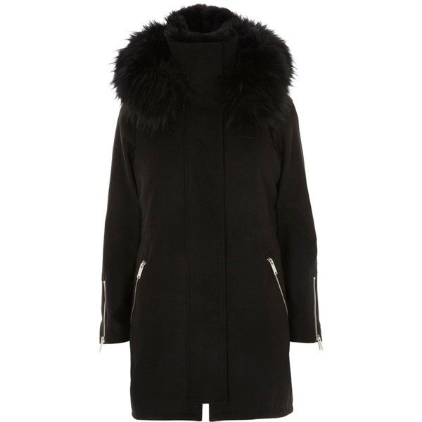 Black faux fur gilet lined parka ($205) ❤ liked on Polyvore featuring outerwear, coats, faux fur trim coats, long sleeve coat, faux fur trim parka, faux fur trim hooded coat and faux fur trim hooded parka