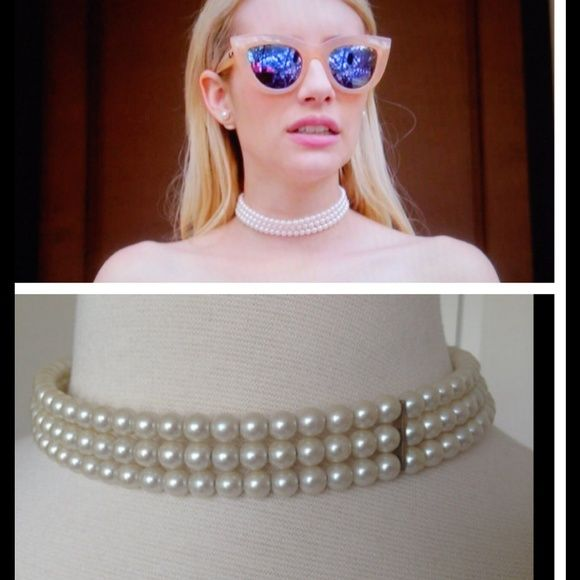 Scream Queens Chanel Oberlin Pearl Choker Necklace Take classic to a whole new level this year with this chic multi-strand choker. Vintage closure is adorned with smaller pearl drops giving this rich necklace its crowning touch. Wear this stunner with a long sleeve dress and platforms!     Maker: Unmarked   Length: 15 inches   Width: 2 cm Jewelry Necklaces