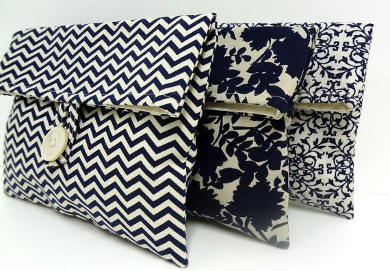 Set of 3 Navy Wedding Bags Bridesmaid Gifts Navy Blue Wedding