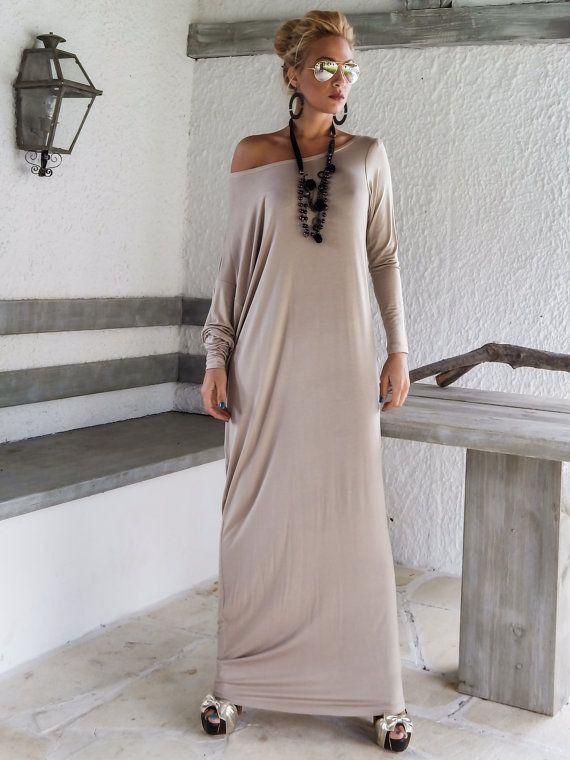 Beige Maxi Long Sleeve Dress / Beige Kaftan / by SynthiaCouture