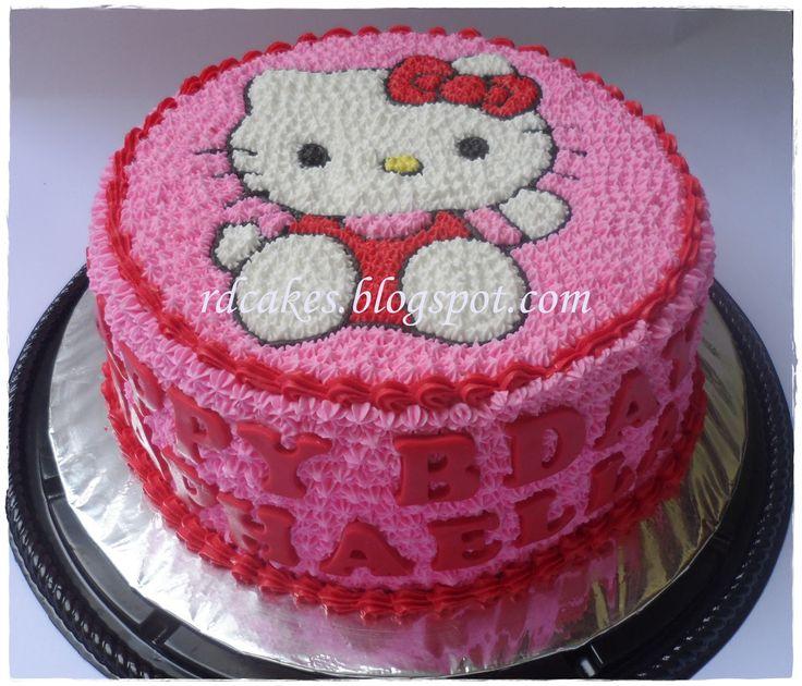 hello kitty buttercream cake menggunakan teknik sablon kue ini