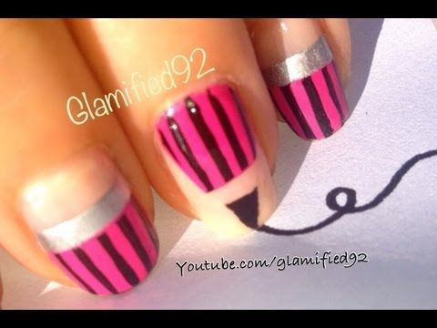 2017 Diy Easy Back To School Nails Pink Pencil Nail Art Design For Short