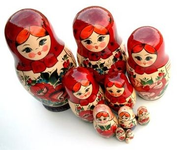 Babushka Dolls. I had a wooden set much like this, then at some point thought I was too 'grown up' to keep them. Would have been lovely if I did!