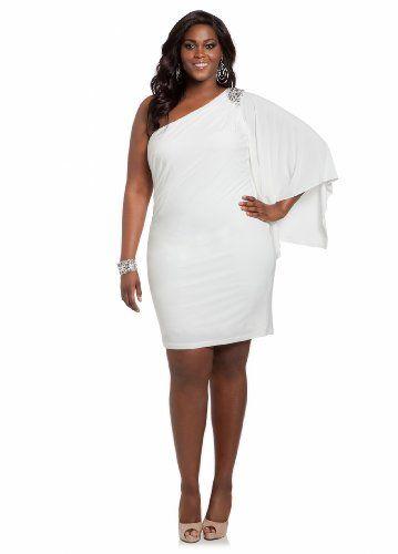 Plus White One Shoulder Dress Slmn Fashion Blog