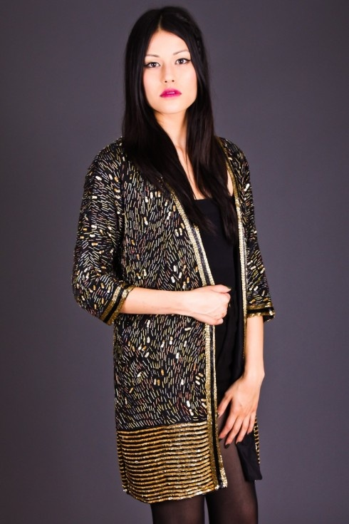 Beaded Gold & Black Kimono Jacket by Telltale Hearts