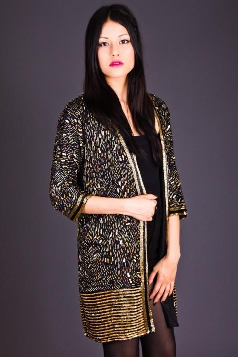 Beaded Gold & Black Kimono Jacket by Telltale Hearts