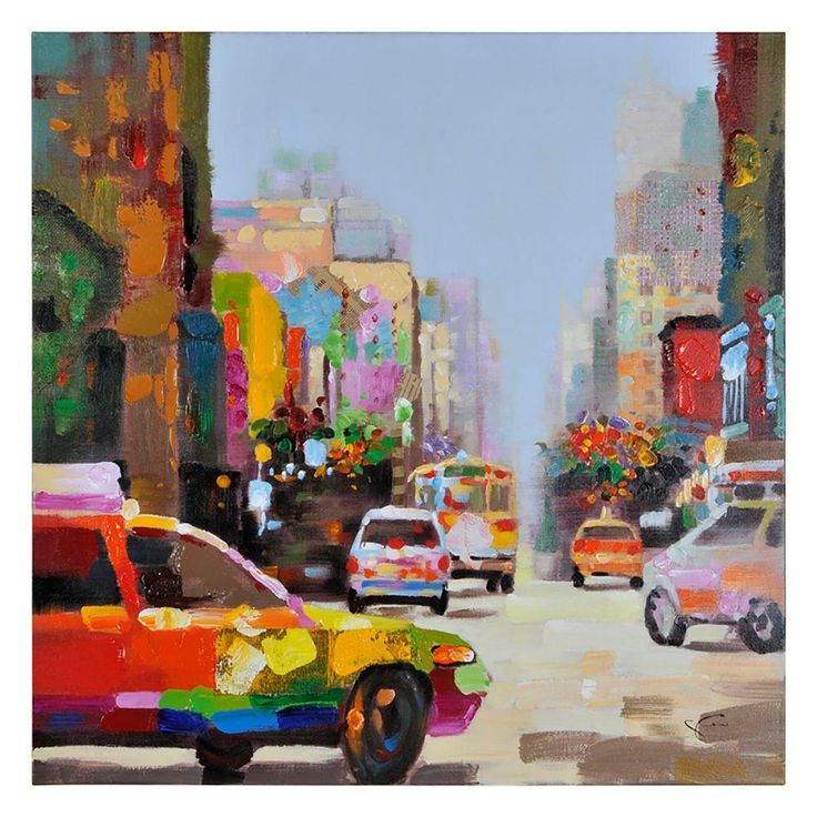 "40 in. H x 40 in. W ""City Slickers "" by Giovanni Russo Unframed Canvas Wall Art"